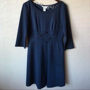 Max Studio Blue Long Sleeve Waist Detail Dress